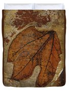 A Fossilized  Sassafras Leaf Duvet Cover