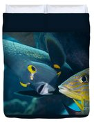 A French Angelfish Swims Up Close Duvet Cover
