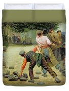A Game Of Bourles In Flanders Duvet Cover