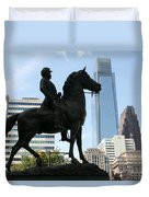 A General And His Horse In Philly Duvet Cover