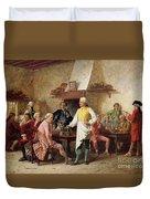 A Gentleman's Debate Duvet Cover by Benjamin Eugene Fichel