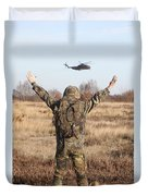 A German Army Soldier Guides A Ch-53gs Duvet Cover