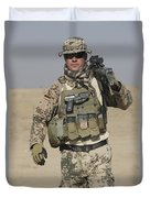 A German Soldier Carries A Barrett Duvet Cover