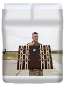 A German Soldier Holds A Display Duvet Cover