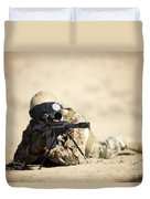 A German Soldier Sights In A Barrett Duvet Cover