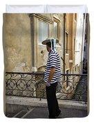 A Gondolier In Venice Duvet Cover