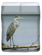 A Graceful Gray Heron Standing On A Log Duvet Cover