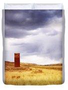 A Grain Elevator In A Field Duvet Cover