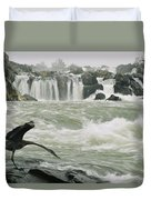 A Great Blue Heron Stretches Its Neck Duvet Cover