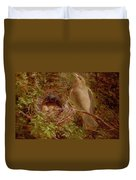 A Greenfinch At Its Nest Duvet Cover