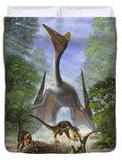 A Group Of Balaur Bondoc Dinosaurs Duvet Cover