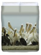A Group Of Eastern White Pelicans Duvet Cover