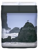 A Gull Sits On A Rock At Cannon Beach Duvet Cover