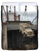 A Harbor Crane Lifts A Mine-resistant Duvet Cover