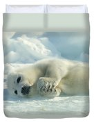 A Harp Seal Pup Lies On Its Side Duvet Cover