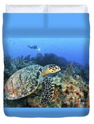 A Hawksbill Turtle Swims Duvet Cover