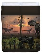 A Herd Of Allosaurus Dinosaur Cause Duvet Cover