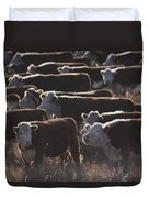 A Herd Of Cattle On The Wyoming Range Duvet Cover