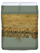 A Herd Of Impala Drinking At A Watering Duvet Cover