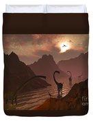 A Herd Of Omeisaurus Dinosaurs Duvet Cover