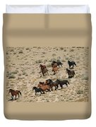 A Herd Of Wild Horses Gallops Duvet Cover