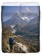 A Hiker With A Mountain Range Duvet Cover