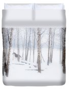 A Horse Stands Beside A Forest Of Bare Duvet Cover