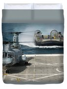A Hovercraft Approaches Uss New Orleans Duvet Cover
