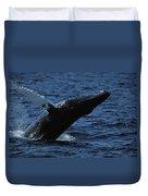 A Humpback Whale Breaching Duvet Cover