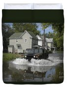 A Humvee Drives Through The Floodwaters Duvet Cover