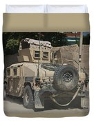 A Humvee Patrols The Streets Of Kunduz Duvet Cover