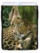 A Jaguar Rests On The Jungle Floor Duvet Cover