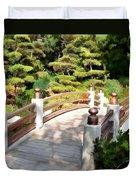 A Japanese Garden Bridge From Sun To Shade Duvet Cover