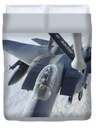 A Kc-135 Stratotanker Refuels An F-15e Duvet Cover by Stocktrek Images
