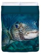 A Large Spotted Pufferfish Duvet Cover