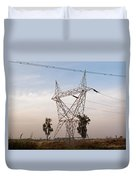 A Large Steel Based Electric Pylon Carrying High Tension Power Lines Duvet Cover
