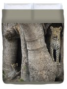 A Leopard And Cub Inside A Giant Baobab Duvet Cover