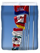 A Line Of Flags Represent The Countries Duvet Cover