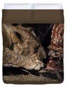 A Lion Feeding On The Carcass Of A Cape Duvet Cover