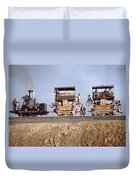 A Locomotive And Two Coaches Duvet Cover