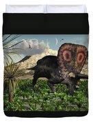 A Lone Torosaurus Dinosaur Feeding Duvet Cover