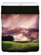 A Lonely Farm Building In An Open Field Duvet Cover