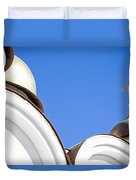 A Low Angle Shot Of A White Church Duvet Cover