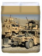 A M1114 Humvee Sits Parked In Front Duvet Cover