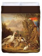 A Macaw - Ducks - Parrots And Other Birds In A Landscape Duvet Cover