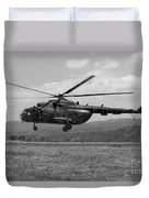 A Macedonian Mi-17 Helicopter Landing Duvet Cover