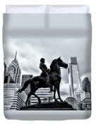 A Man A Horse And A City Duvet Cover