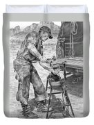 A Man And His Trade - Farrier Art Print Duvet Cover
