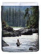 A Man Fishes For Cutthroat Trout In An Duvet Cover