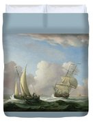 A Man-o'-war In A Swell And A Sailing Boat Duvet Cover